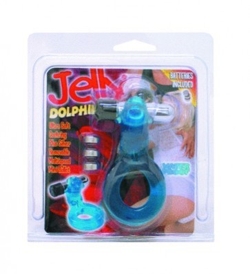 Jelly Dolphin Ultra Soft Cock Ring with Removable Bullet Blue