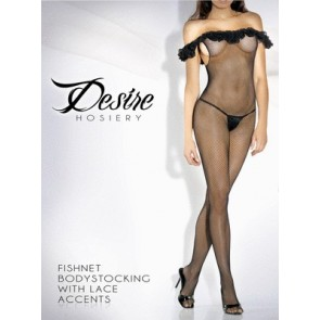 Desire Hosiery Fishnet Bodystocking with Lace Accents - 2019X - Queen