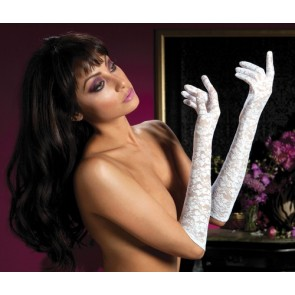 Lace elbow length gloves Plybg STM-40111-OS-Wh