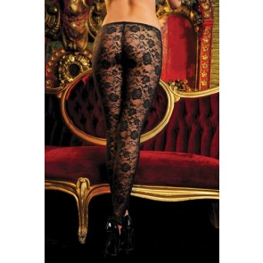 Stretch floral lace leggings with elastic waistband STM-9327P-OS-Blk