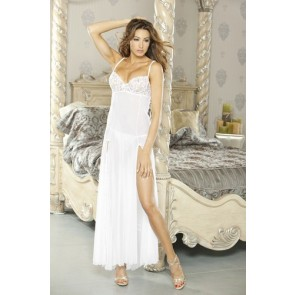 PURE Low Back Gown & G-String Large White