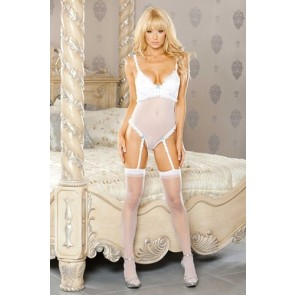 PURE Teddy w/Removable Garters Medium White