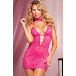 Midnight Affair Lace chemise choker/eye mask and thong STM-9217-O/S-Pink