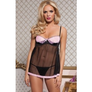 Cross My Heart Satin and tulle babydoll underwire cup bra and thong STM-9705-S-PINK