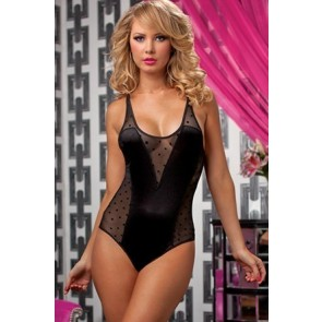 Sweet Spot Shiny stretch satin and flocked dot teddy STM-9689P-O/S-BLACK