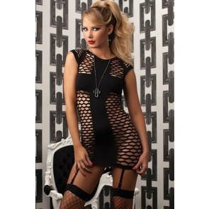 The Holy Dress Seamless fishnet dress and removable garters STM-9709P-O/S-BLACK