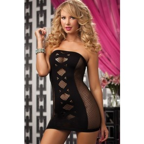 Double Cross Seamless tube dress with netting STM-9733P-O/S-BLACK