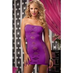 Double Cross Seamless tube dress with netting STM-9733P-O/S-PURPLE