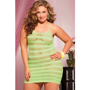 Riot Girly Seamless solid and net stripe dress STM-9683XP-OSX-LIME