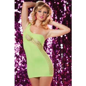 Total Knock Out Seamless asymmetrical one shoulder dress STM-9695P-O/S-LIME