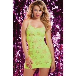 Star Struck Seamless dress with star shaped cut outs STM-9702P-O/S-YELLOW