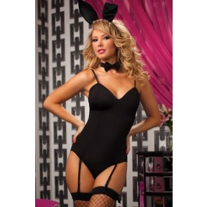 Midnight Hop 4 Piece set Teddy bunny ear headband w/ tie and bunny tail costume STM-9674P-O/S-BLACK
