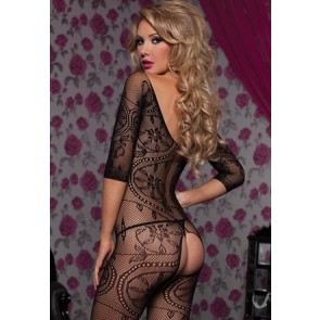Swirl and floral lace 3/4 sleeve open crotch body stocking STM-20421-O/S-BLACK