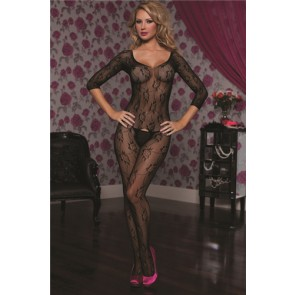 Floral lace 3/4 sleeve open crotch body stocking STM-20424-O/S-BLACK