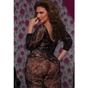 Crochet floral lace 3/4 sleeve body stocking STM-20419X-OSX-BLACK