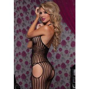 Halter striped suspender body stocking with faux lace waist panel STM-20422-O/S-BLACK