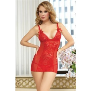 Cupids Bow Chemise & Thong STM-9805P-O/S-Red