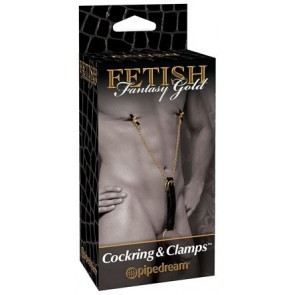 Fetish Fantasy Gold Cockring Nipple Clamps Black