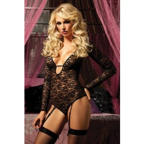 Temptress Long sleeve lace teddy STM-9557P-OS-Blk
