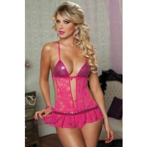 The Night Is Young Teddy/Skirt/Thong OS Pink 9648P-OS-PINK