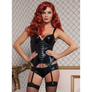 Indecent Desires Lamé bustier removable garters and boyshort  STM-9716P-M-BLACK