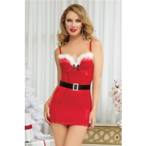 Naughty n Nice Dress & Belt STM-9773-L/XL-Red