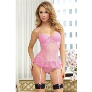 Be Mine Bustier & Thong STM-9791P-XL-Pink