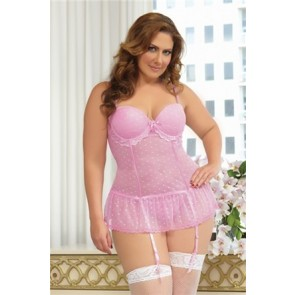 Be Mine Bustier & Thong Plus STM-9791XP-3/4X-Pink