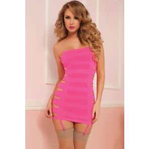 Flashy Cage Seamless Dress STM-9861P-OS-Hot Pink